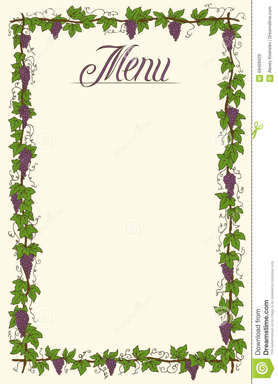 menu page design stock vector image of element