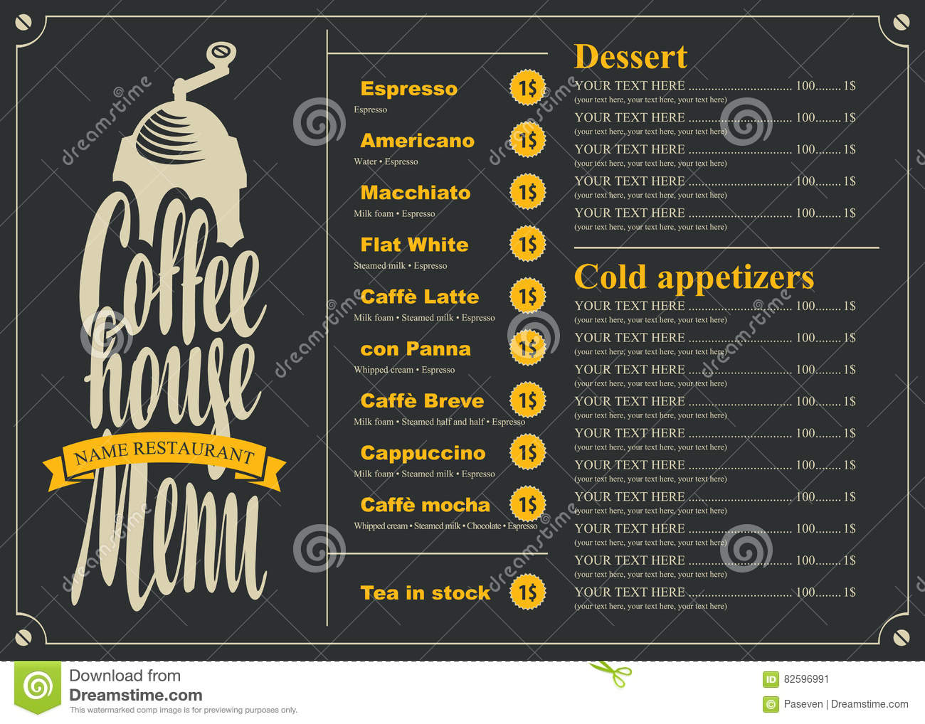 Menu With Price List For The Coffee House Stock Vector
