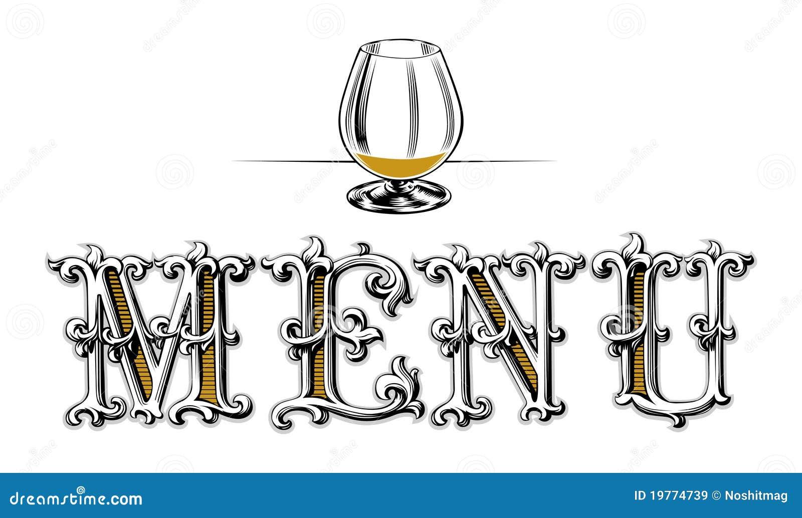 Menu pusty szklany wino