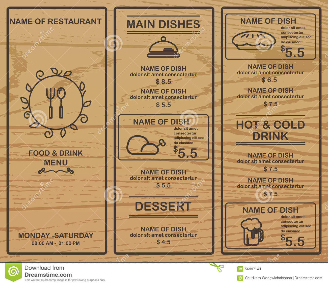 Menu Restaurant Stock Vector. Illustration Of Concept