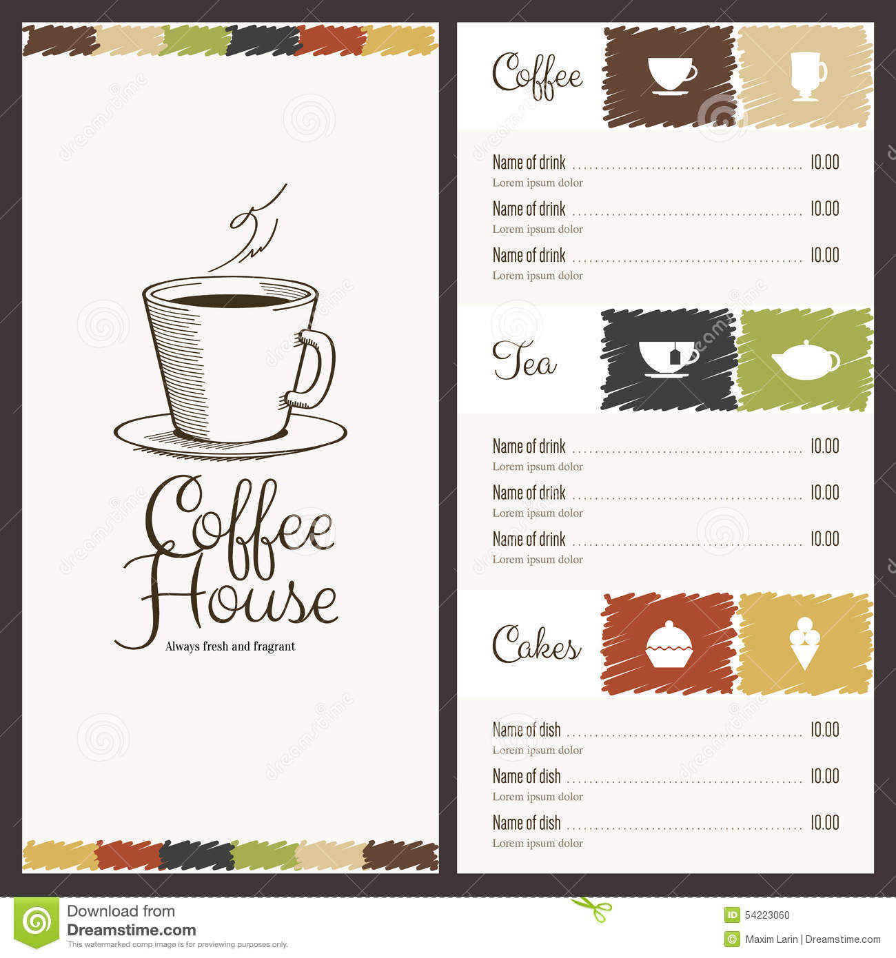 Menu For Restaurant Cafe Bar Coffee House Stock Vector Illustration Of House Drink 54223060