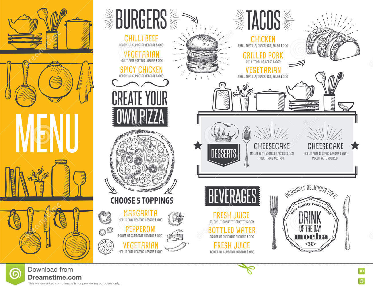 Menu Restaurant Food Template Placemat Stock Vector