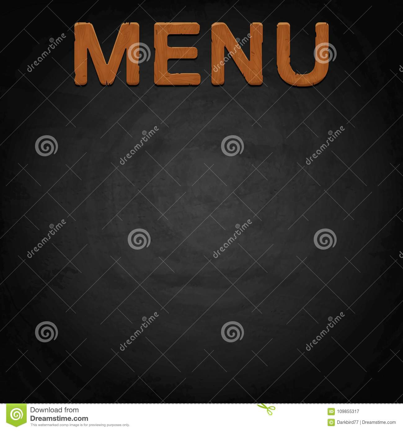 menu of restaurant made of wood on chalkboard background stock