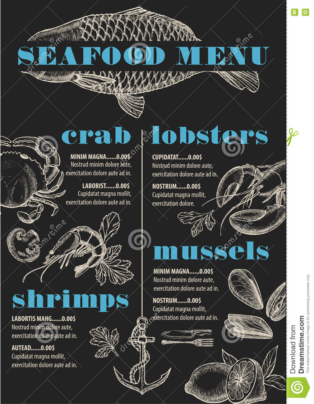 Seafood Menu Template Royalty Free Stock Photography