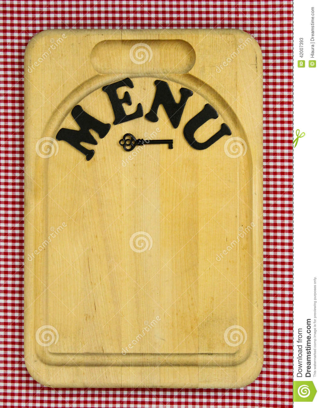 MENU Sign On Wood Cutting Board With Red Checkered ...