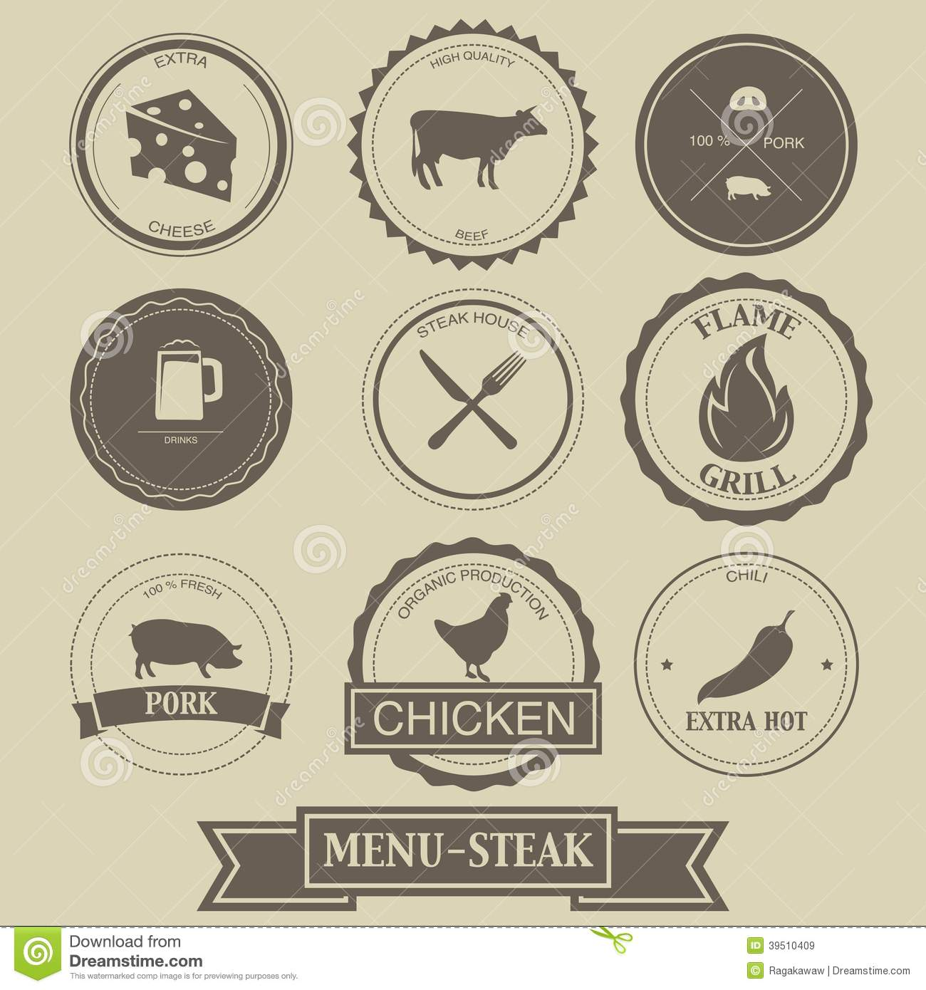 Menu Steak Label Design