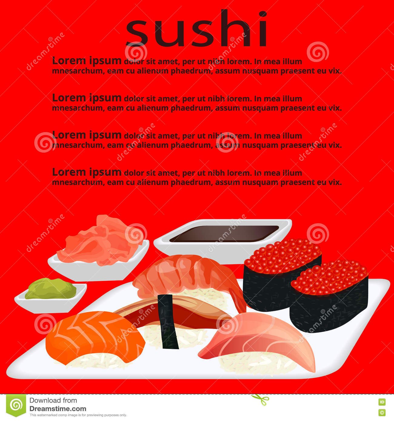 Menu sushi on the red background