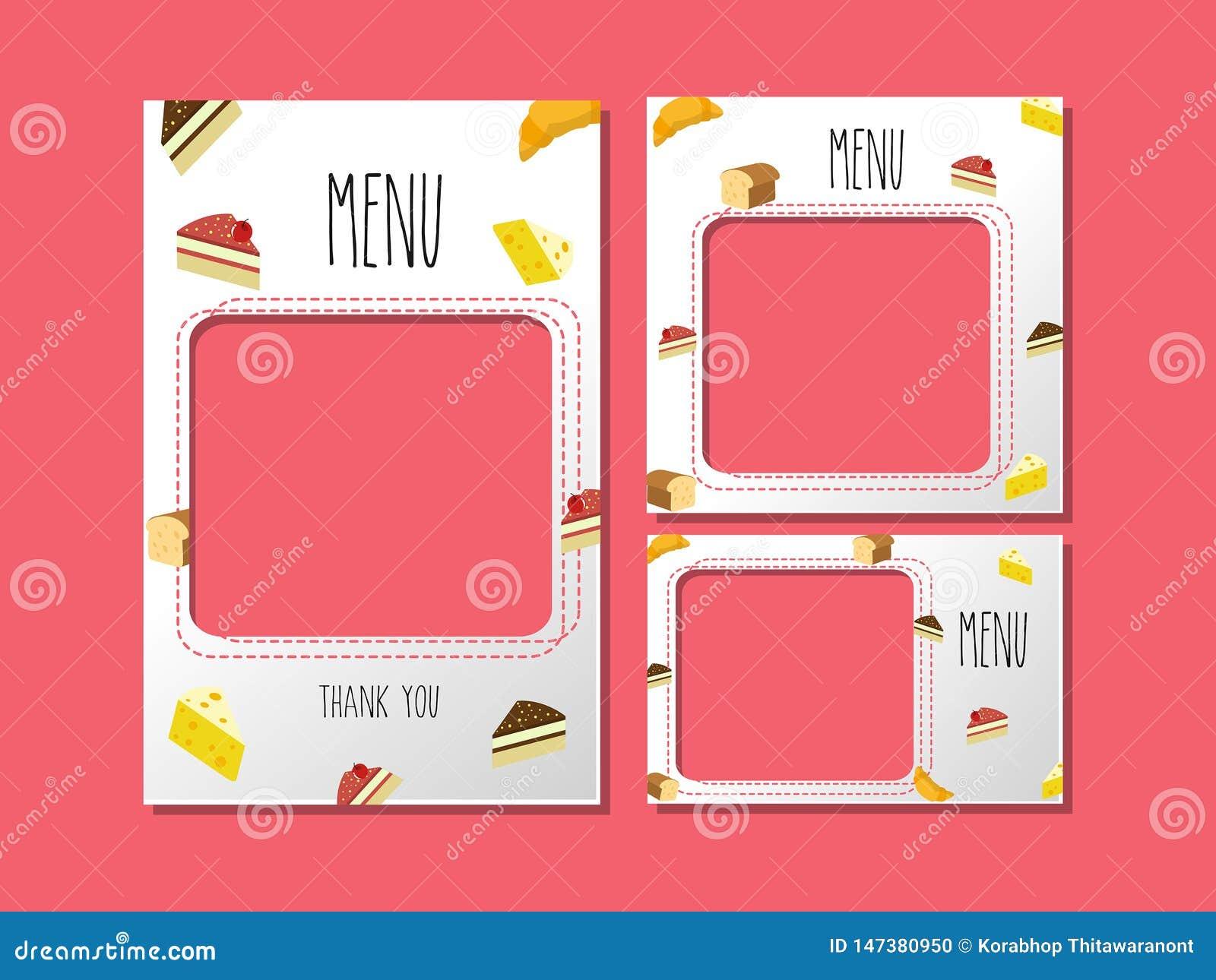 Menu szablon dla deserowej i słodkiej piekarni