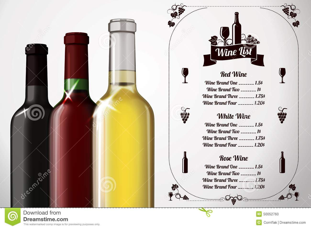 Menu Template - For Alcohol With Three Realistic Stock Vector ...
