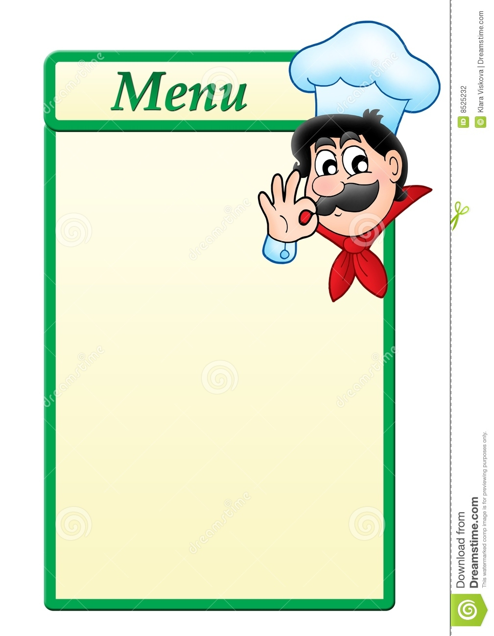menu template with cartoon chef stock photography image 8525232. Black Bedroom Furniture Sets. Home Design Ideas