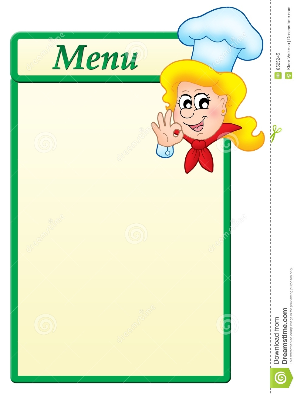 Menu Template With Cartoon Chef Woman Royalty Free Stock