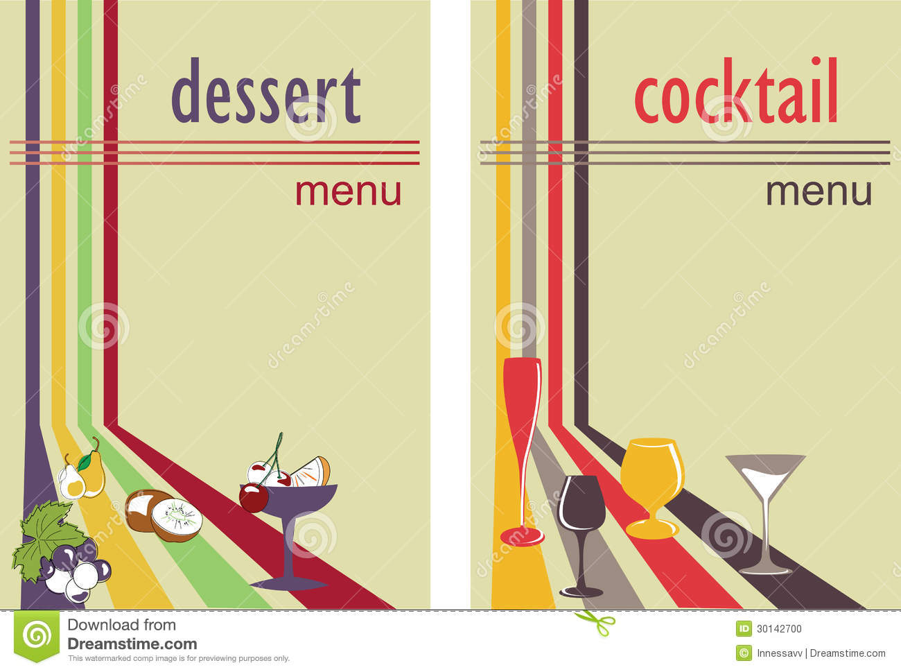 Dessert And Cocktail Menu Stock Photo - Image: 30142700