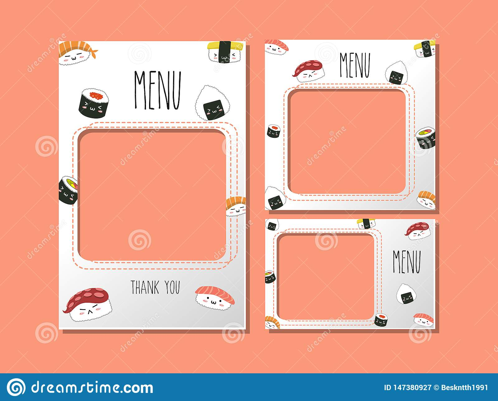 Menu template for japan food sushi style.