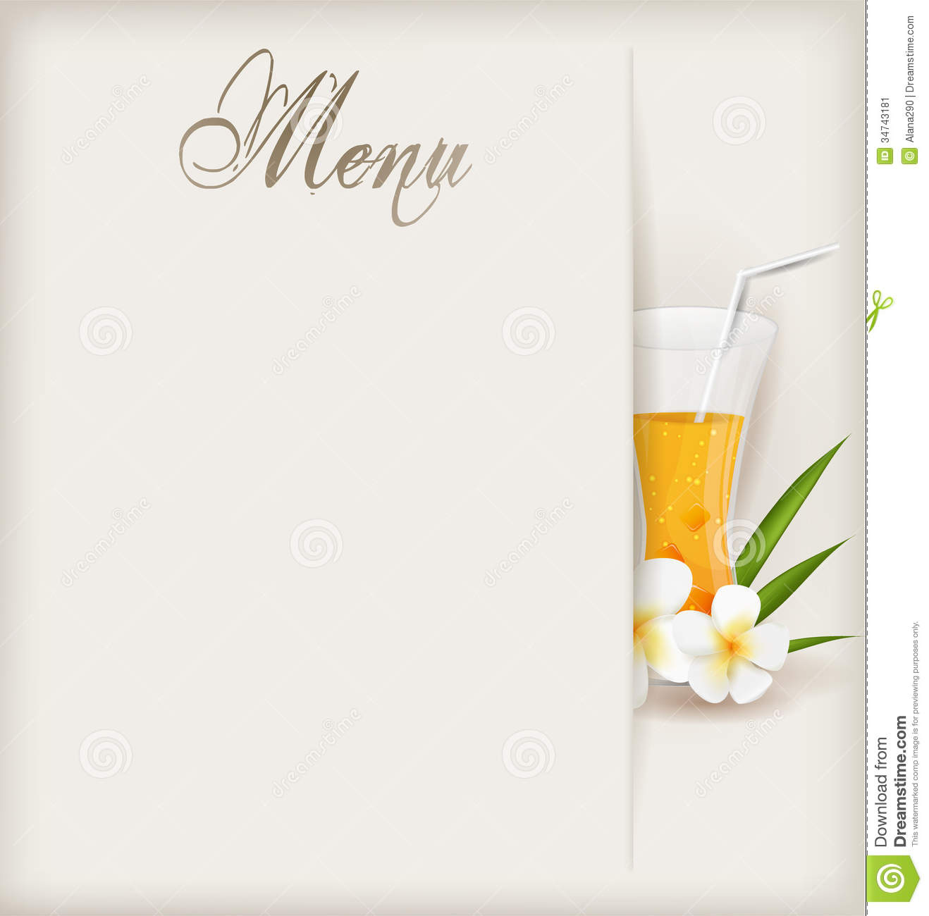 menu template with glass of orange juice stock vector - illustration
