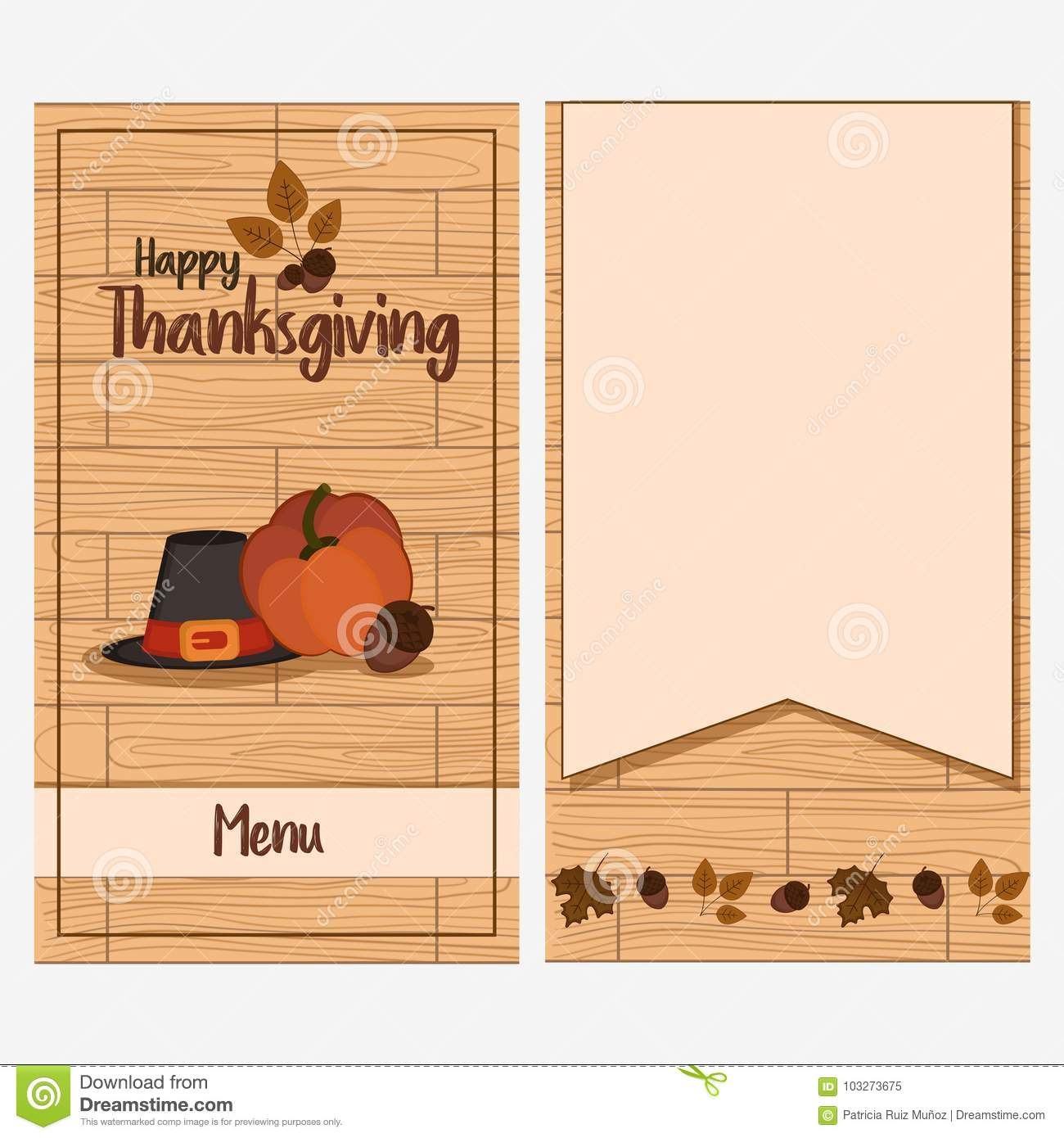 Thanksgiving Day Menu Template Stock Vector Illustration Of Happy