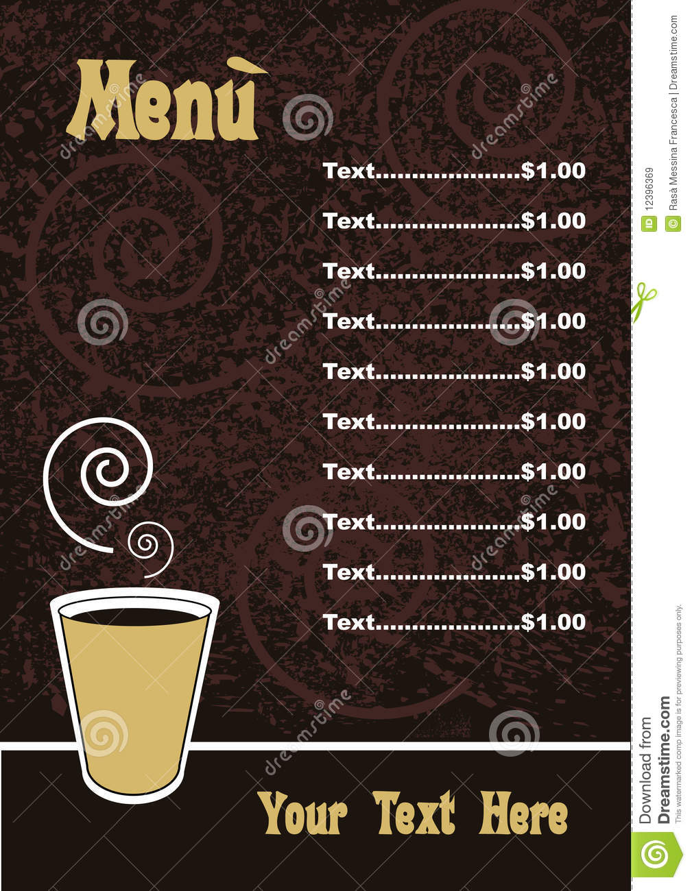 Menu template vector stock vector illustration of for Coffee price list template
