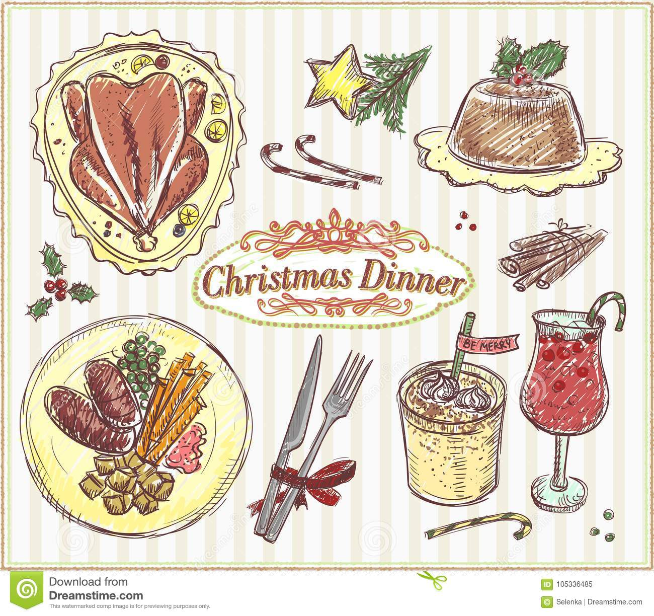 Menu Traditionnel De Noel.Menu Traditionnel De Noel Illustration Tiree Par La Main De