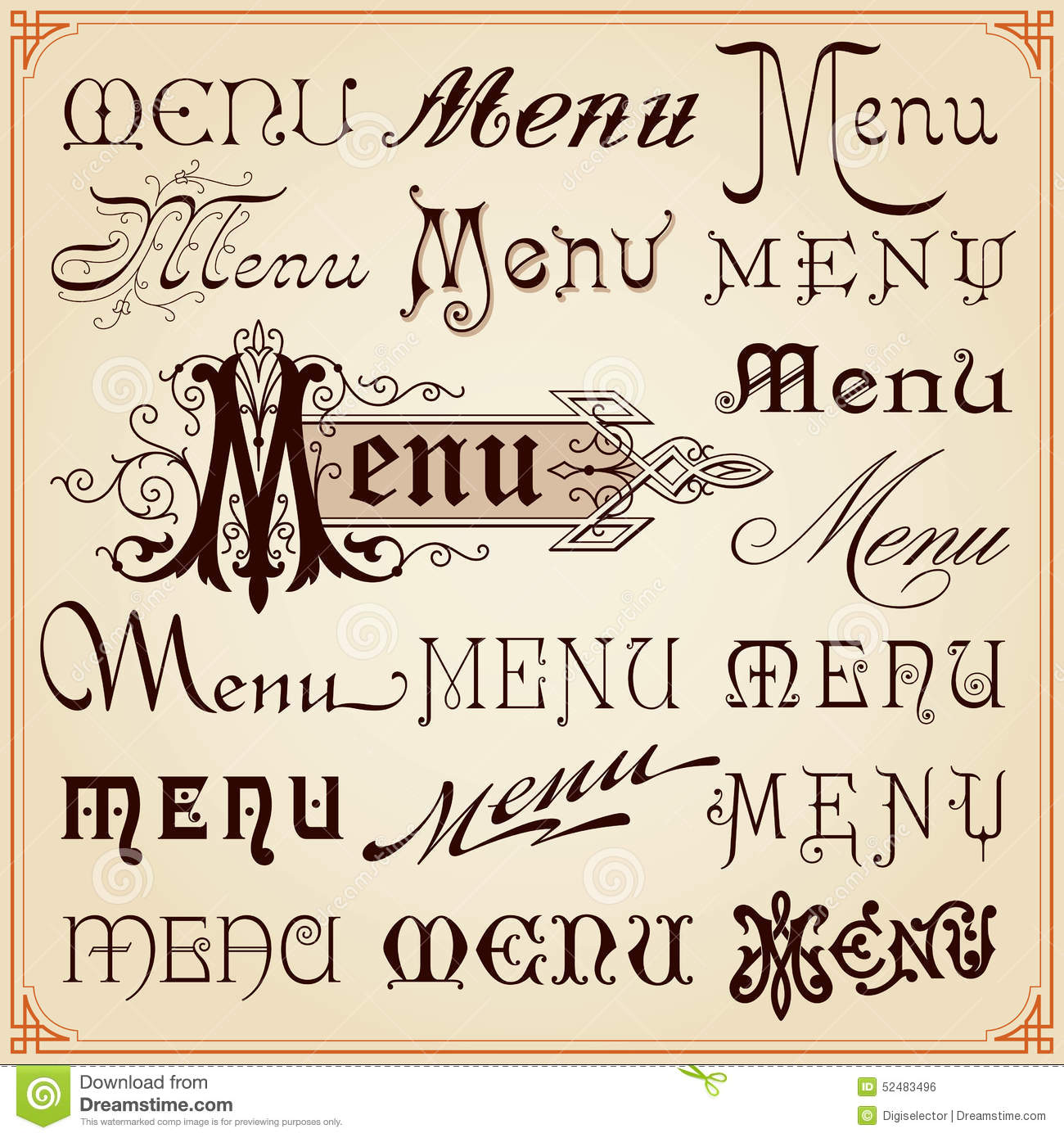 Menu vintage calligraphic fonts letterings texts stock