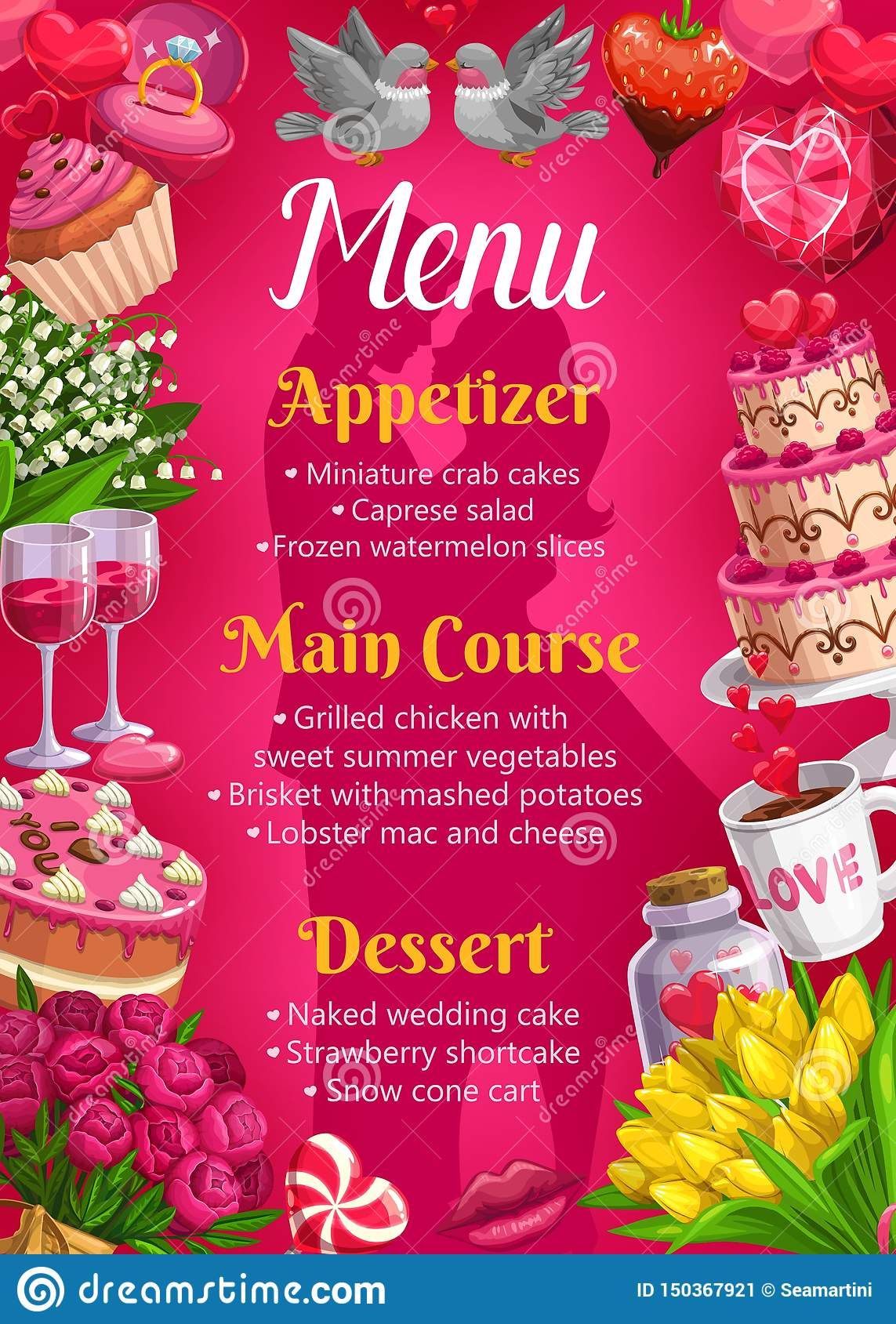 Menu On Wedding, Main Courses, Desserts Appetizers Stock