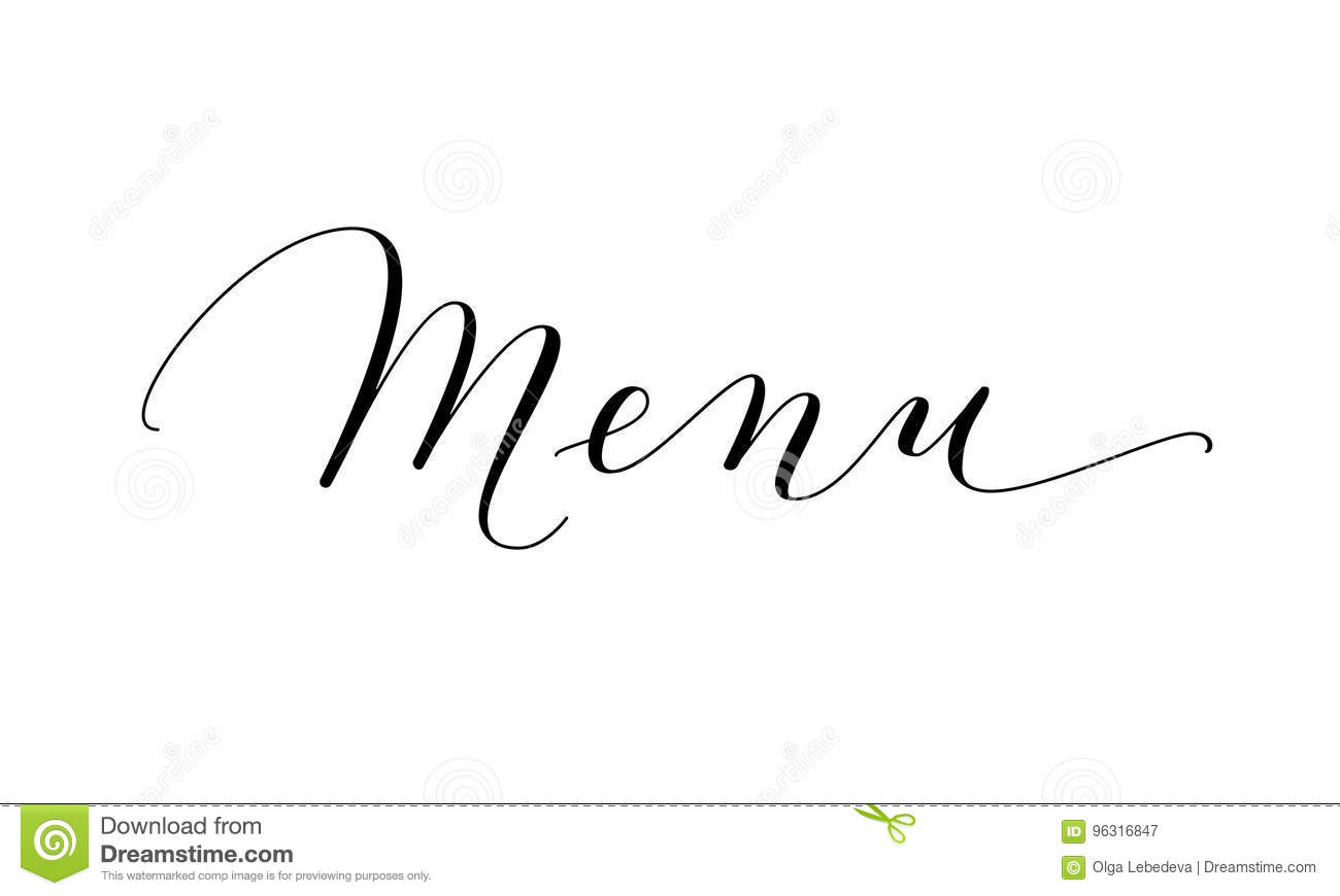 Menu word hand written custom calligraphy isolated on