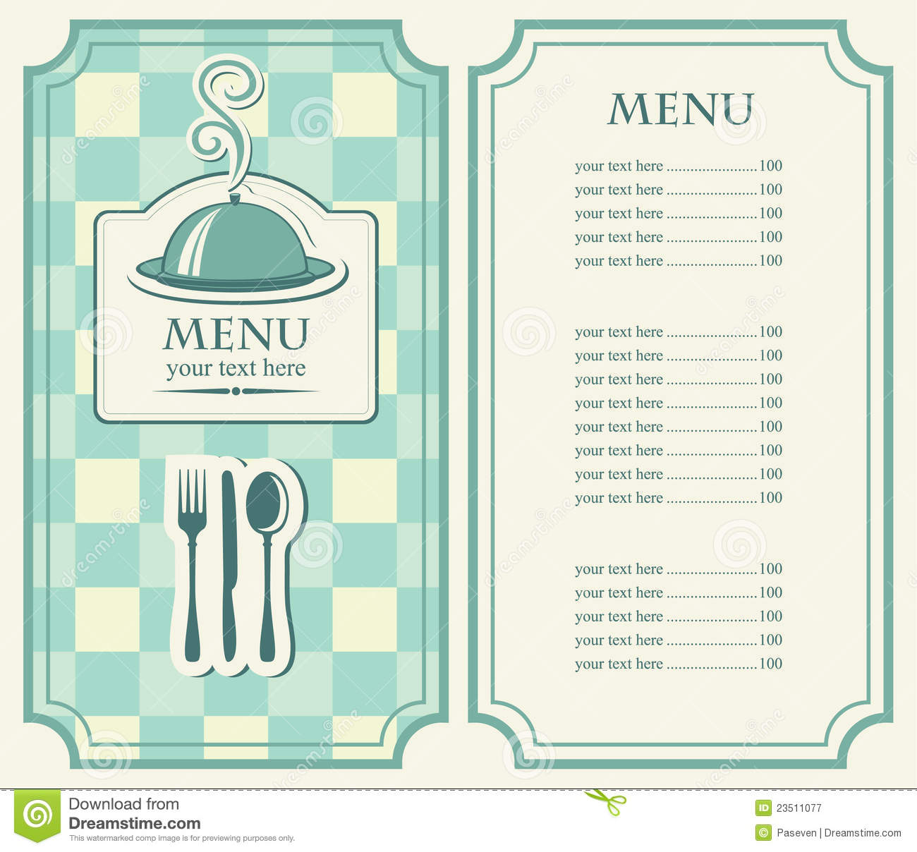 Menus Cafe Or Restauran Stock Vector Image Of Blank