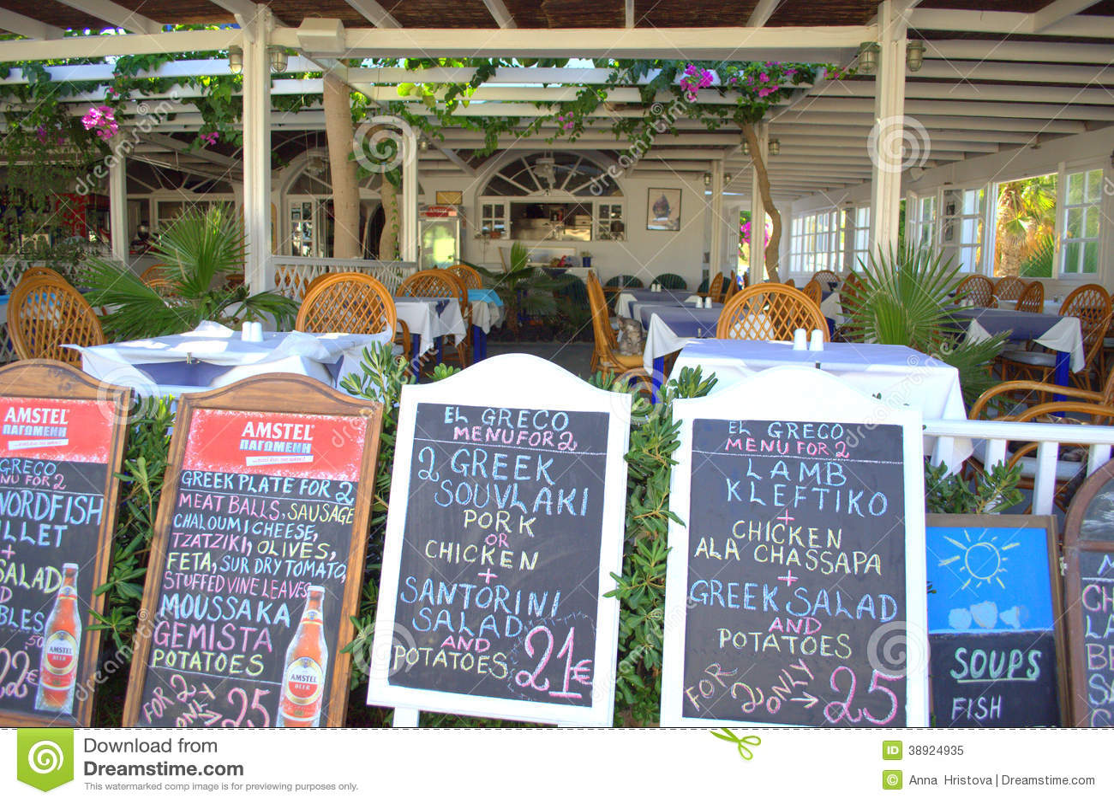Menus at seaside restaurant ,Santorini,Greece