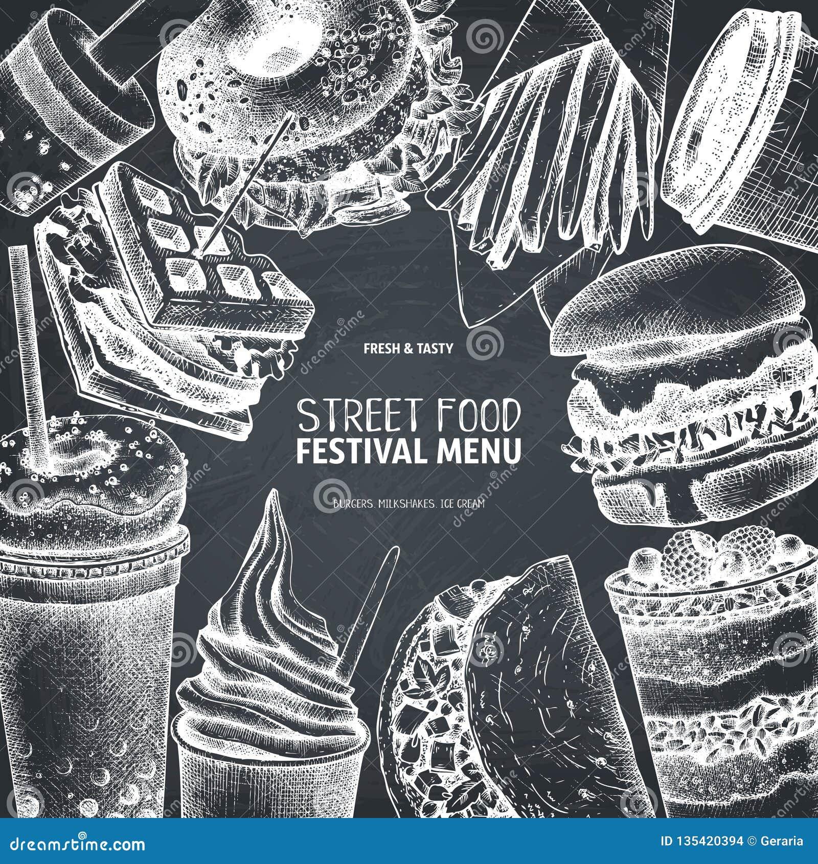 Meny för gatamatfestival Tappning skissar samlingen taco för pie för burritosnabbmatkebab set Inristad stildesign Vektordrinkteck