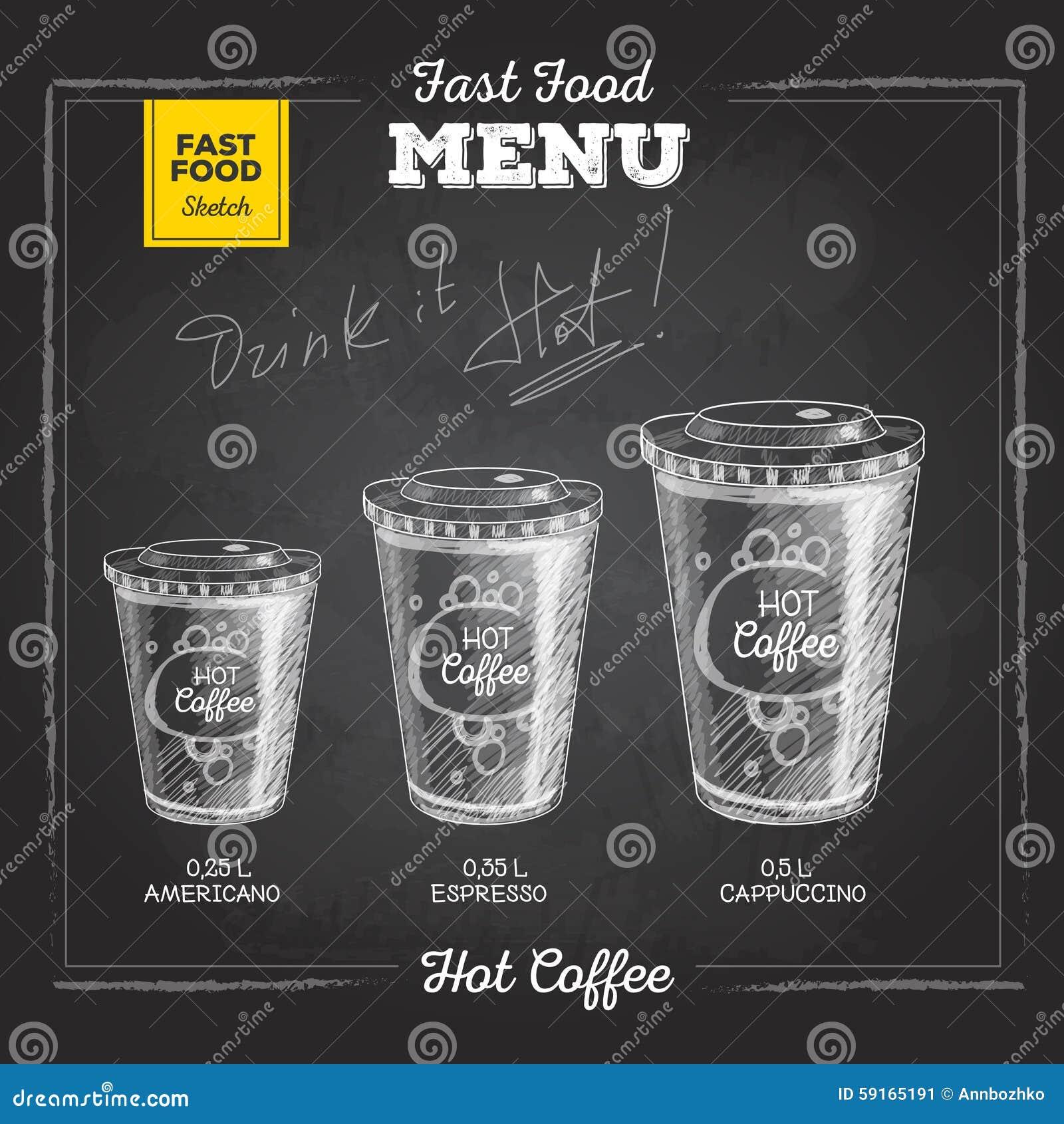 Meny för snabbmat för tappningkritateckning varmt kaffe