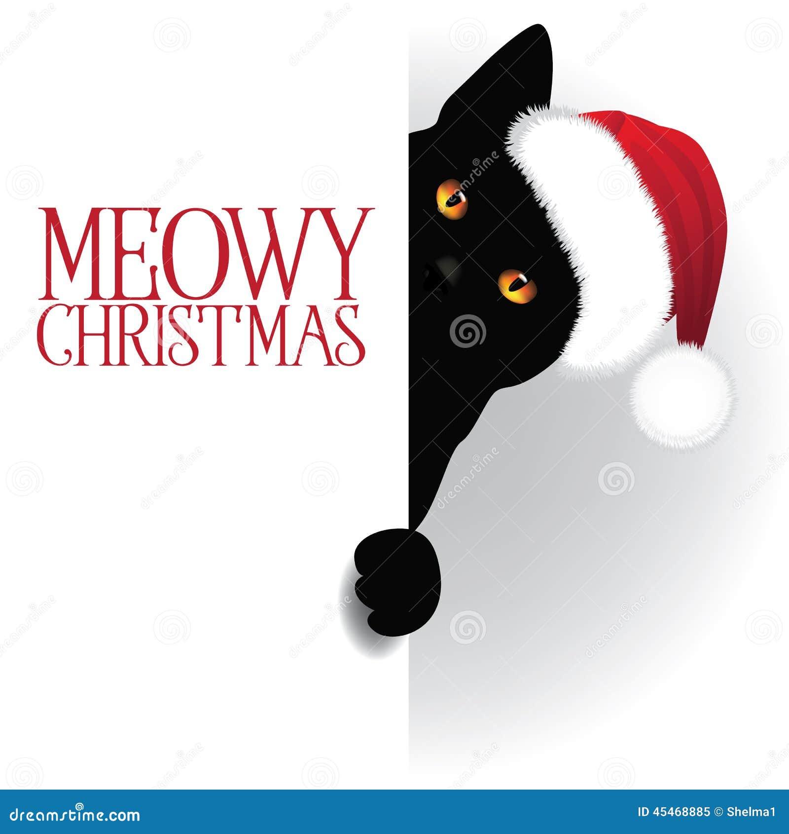 Meowy Christmas.Meowy Christmas Peeking Cat Background Stock Vector
