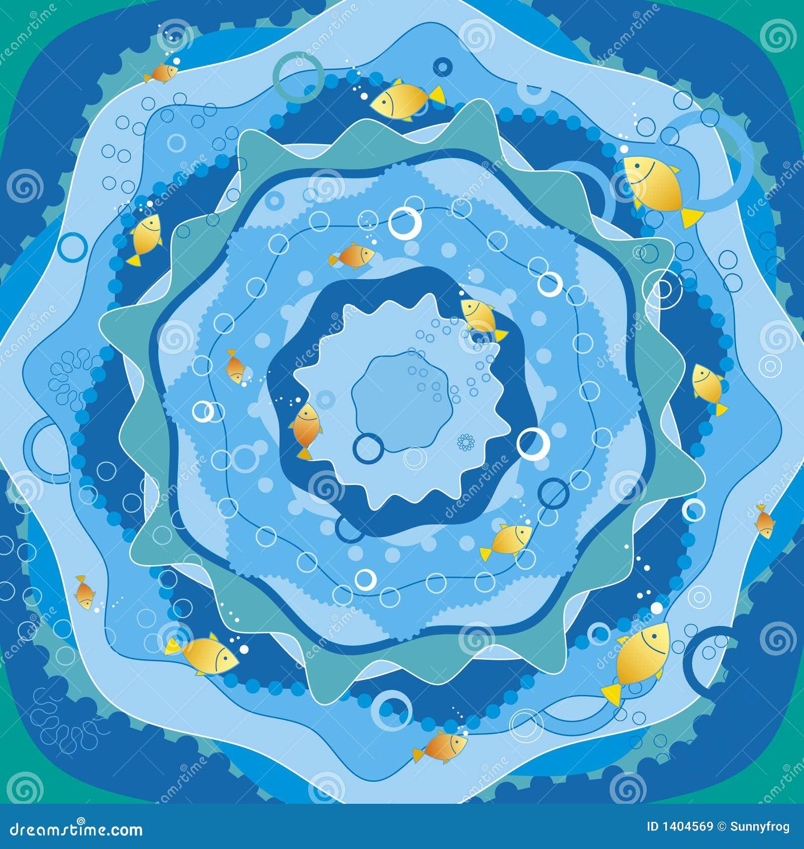 Mer bleue avec des poissons, vecteur
