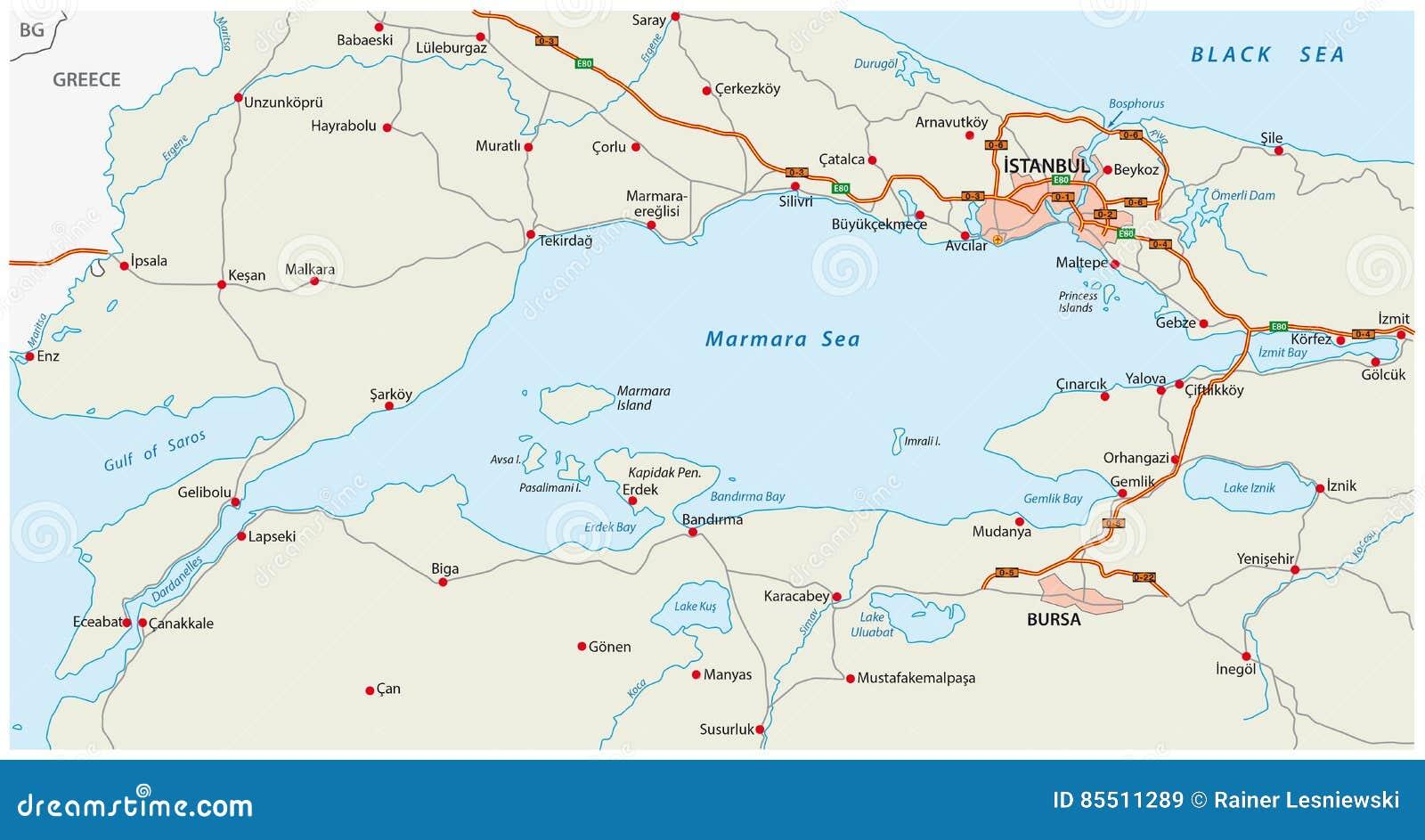 Carte Asie Mer.Mer De Marmara De Carte De Route Avec Istanbul Illustration