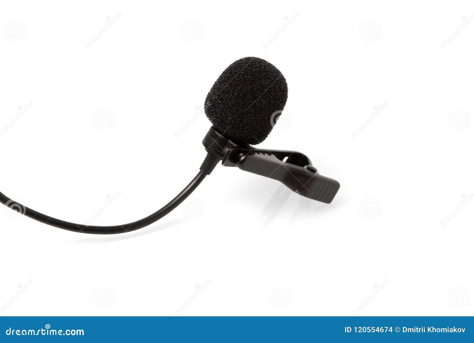 Mer lavalier slipshållaremikrofon för kondensator, hjälpmedel som isoleras på vit bakgrund