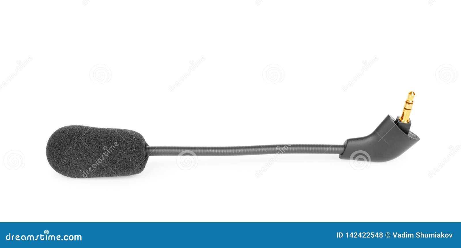 Mer lavalier slipshållaremikrofon för kondensator, hjälpmedel som isoleras på vit bakgrund, makro
