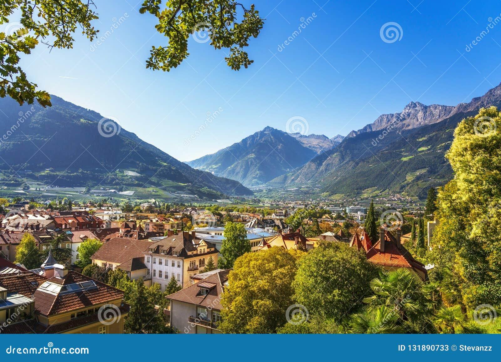 Merano or Meran view from Tappeiner promenade. Trentino Alto Adige Sud Tyrol, Italy.