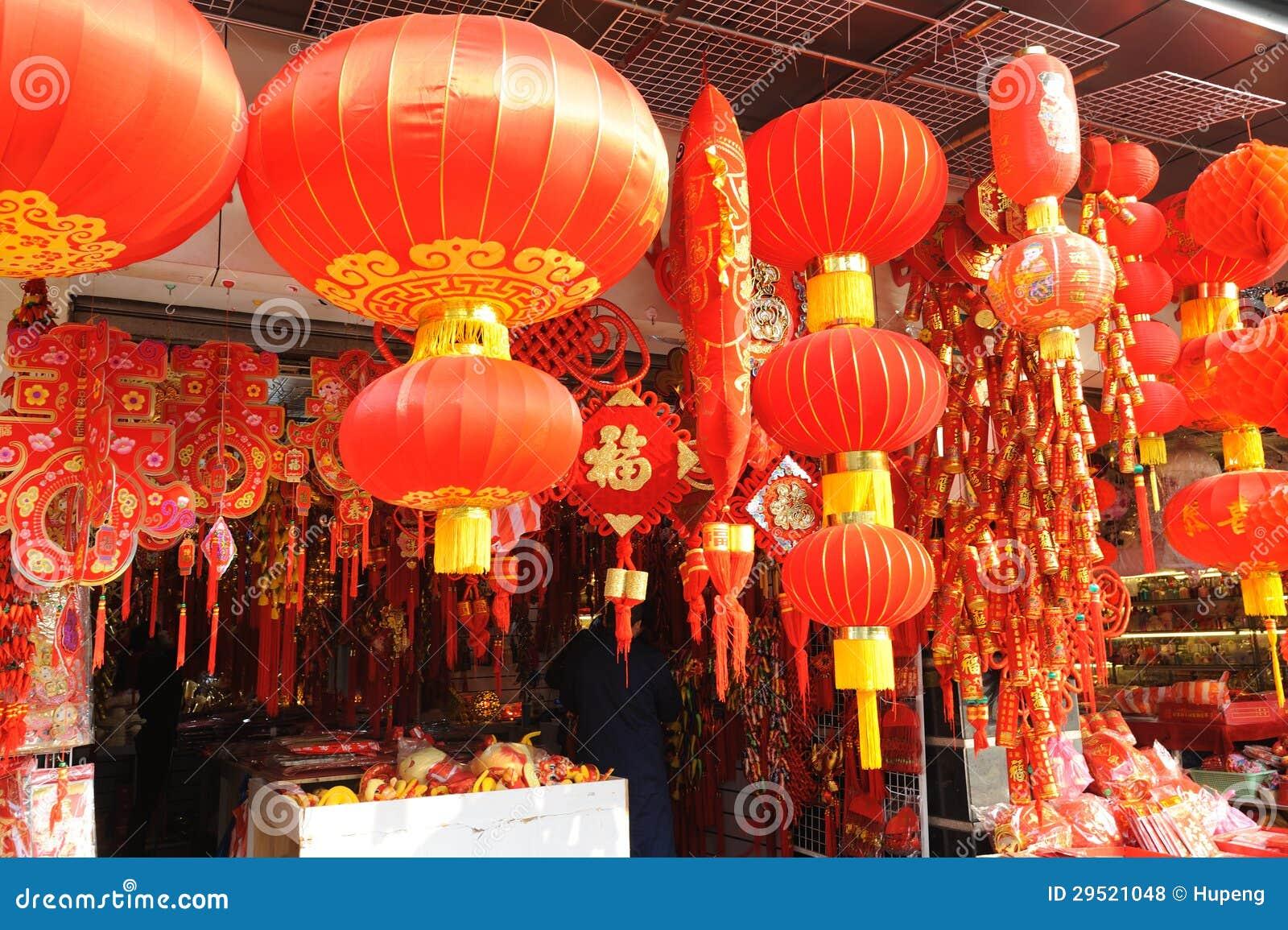 Mercado chino del Año Nuevo en Shangai