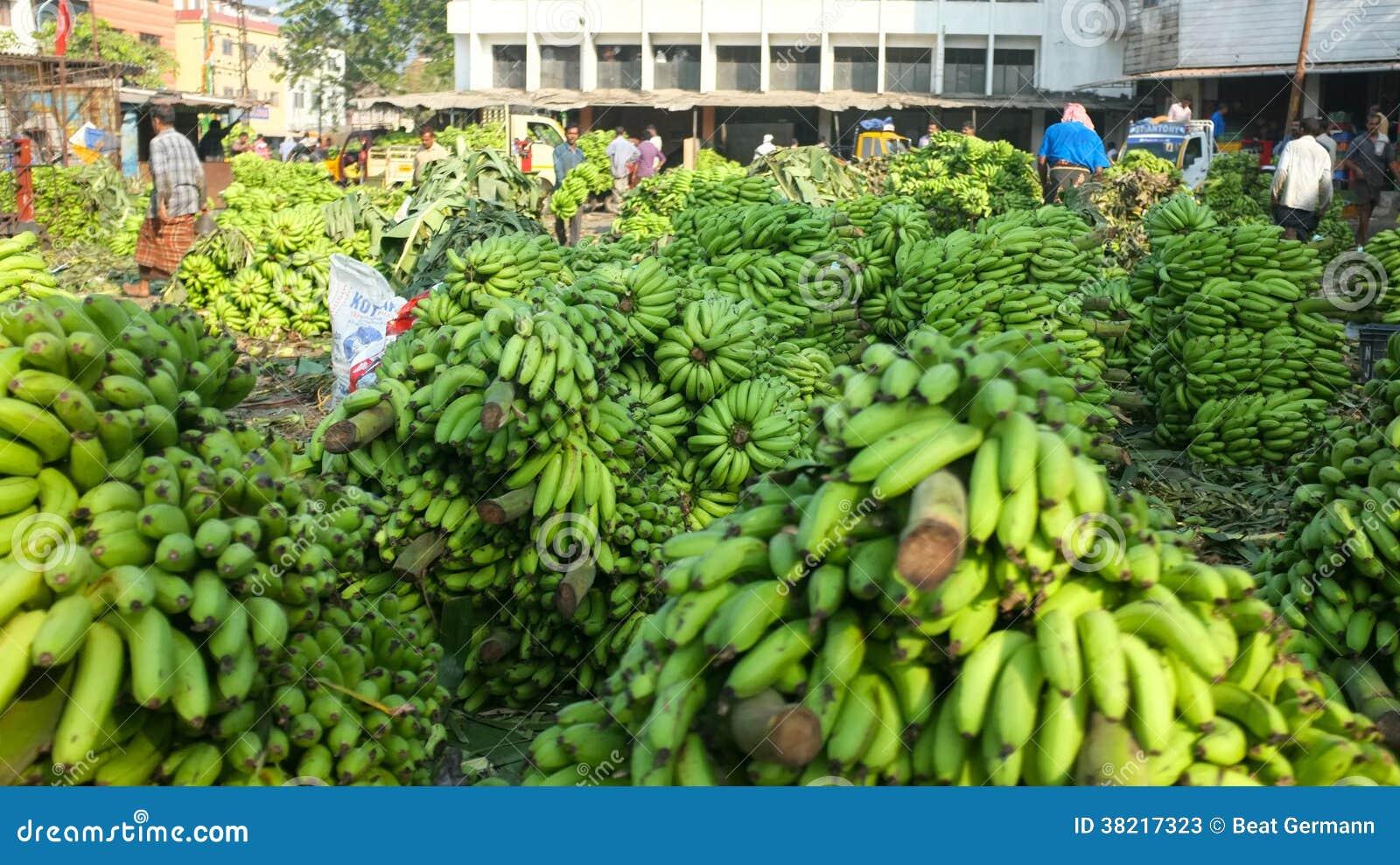 Mercado da banana em Kochi, Índia