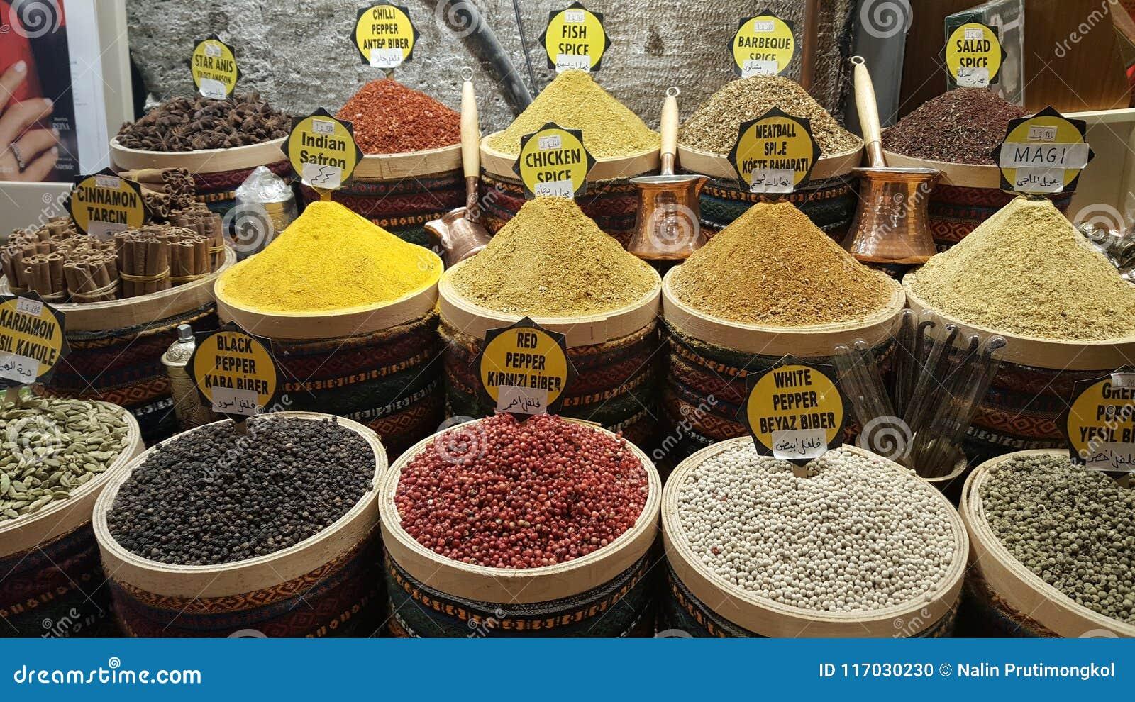 Mercado da especiaria em Turquia