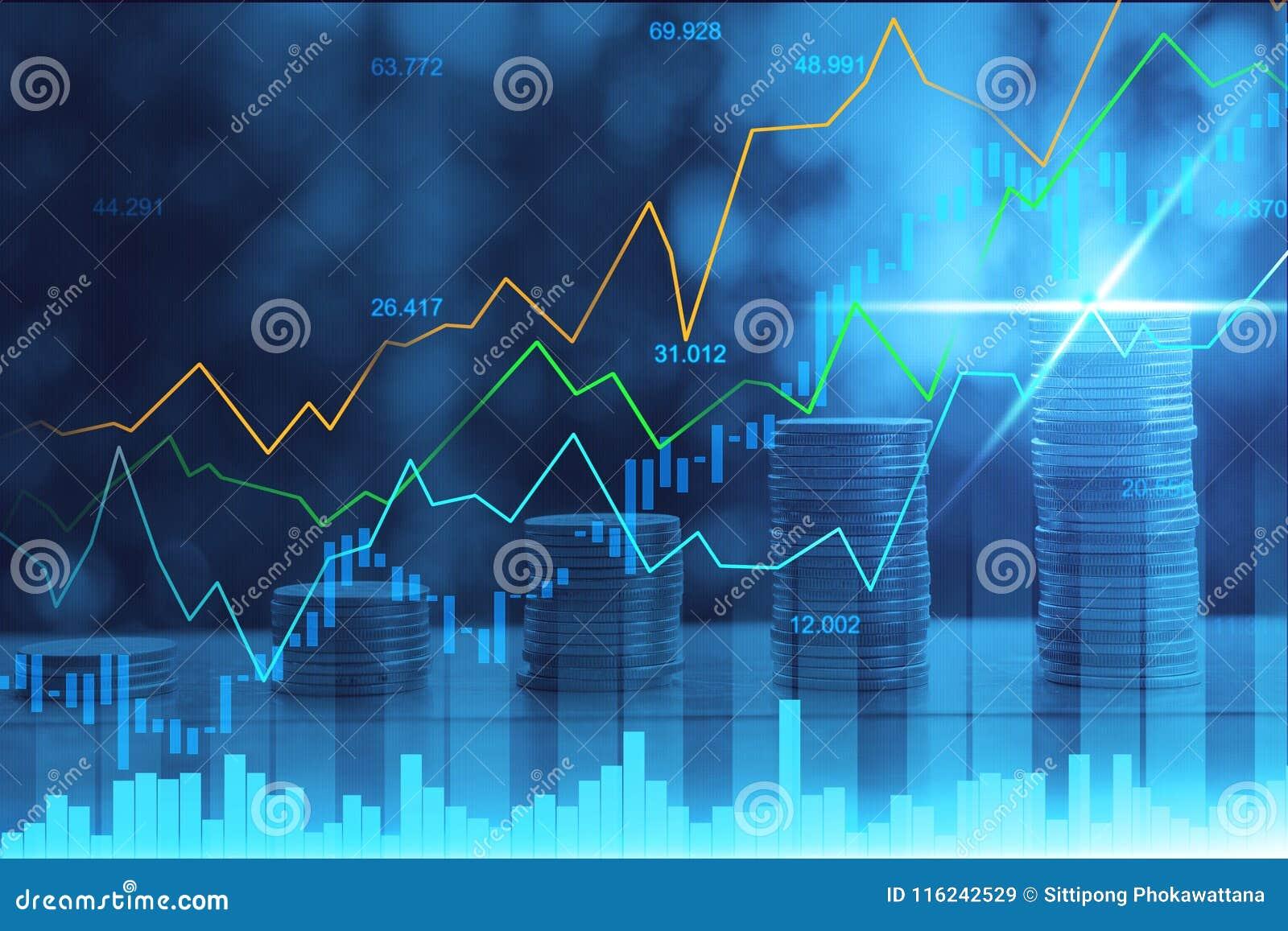 Mercado de acción o gráfico comercial de las divisas en la exposición doble gráfica