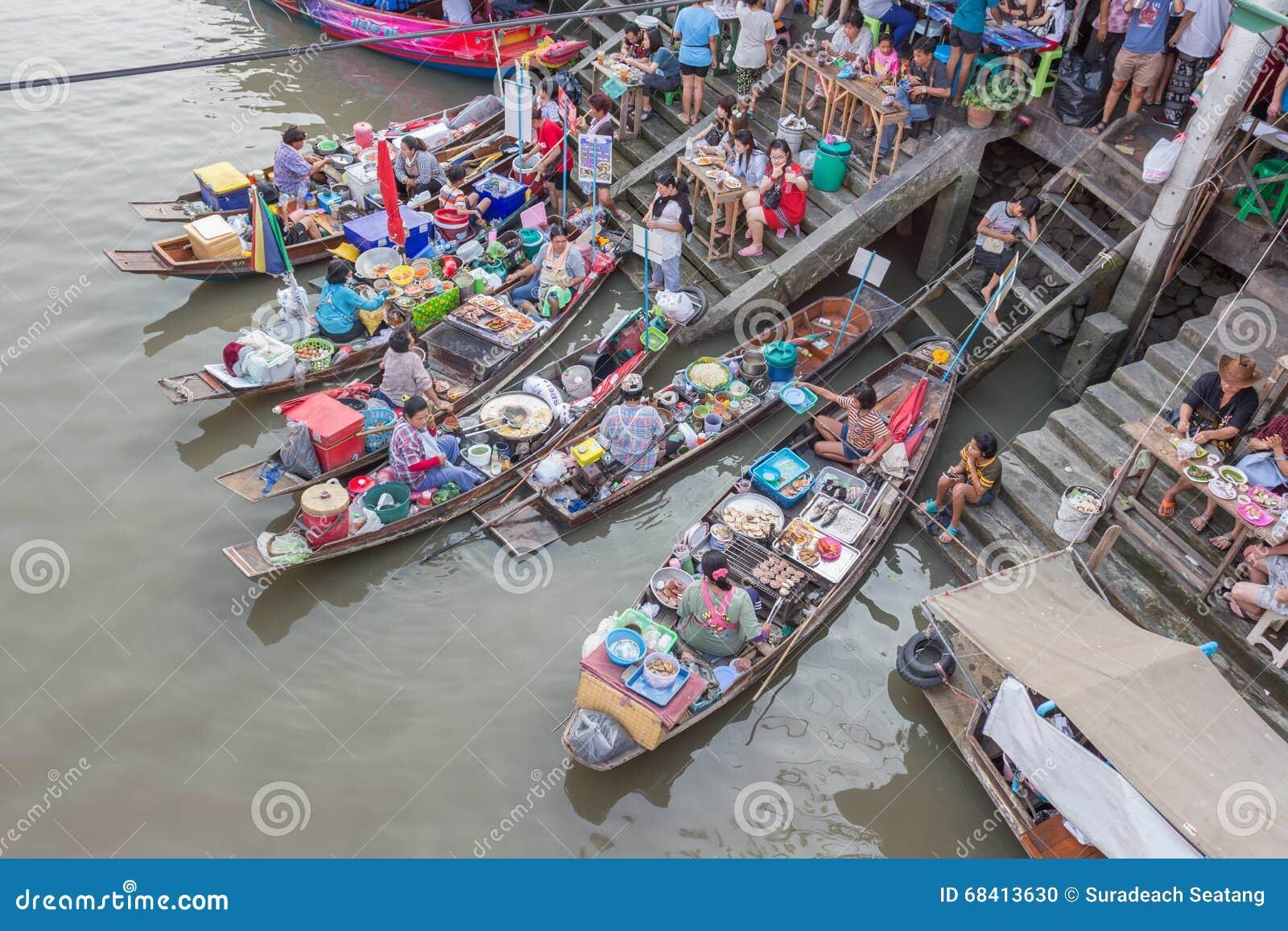 Mercado de flutuação de Amphawa da noite
