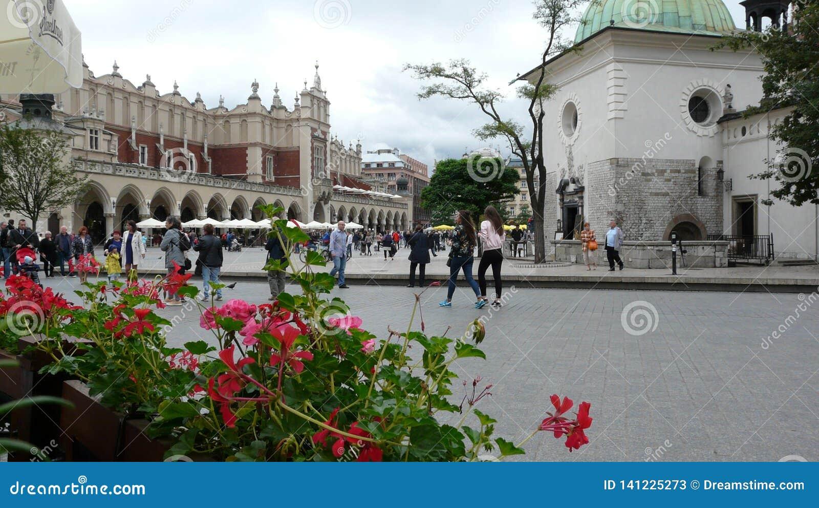 Mercado de Krakow do Polônia Quadrado principal