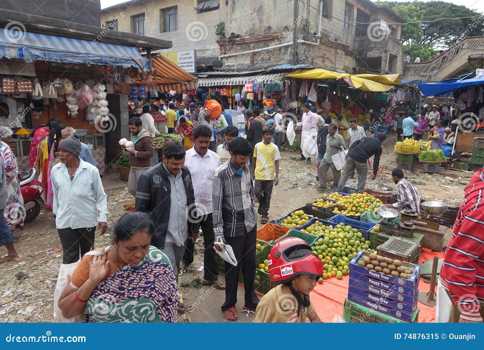 Mercado de produto fresco, Índia de Bangalore
