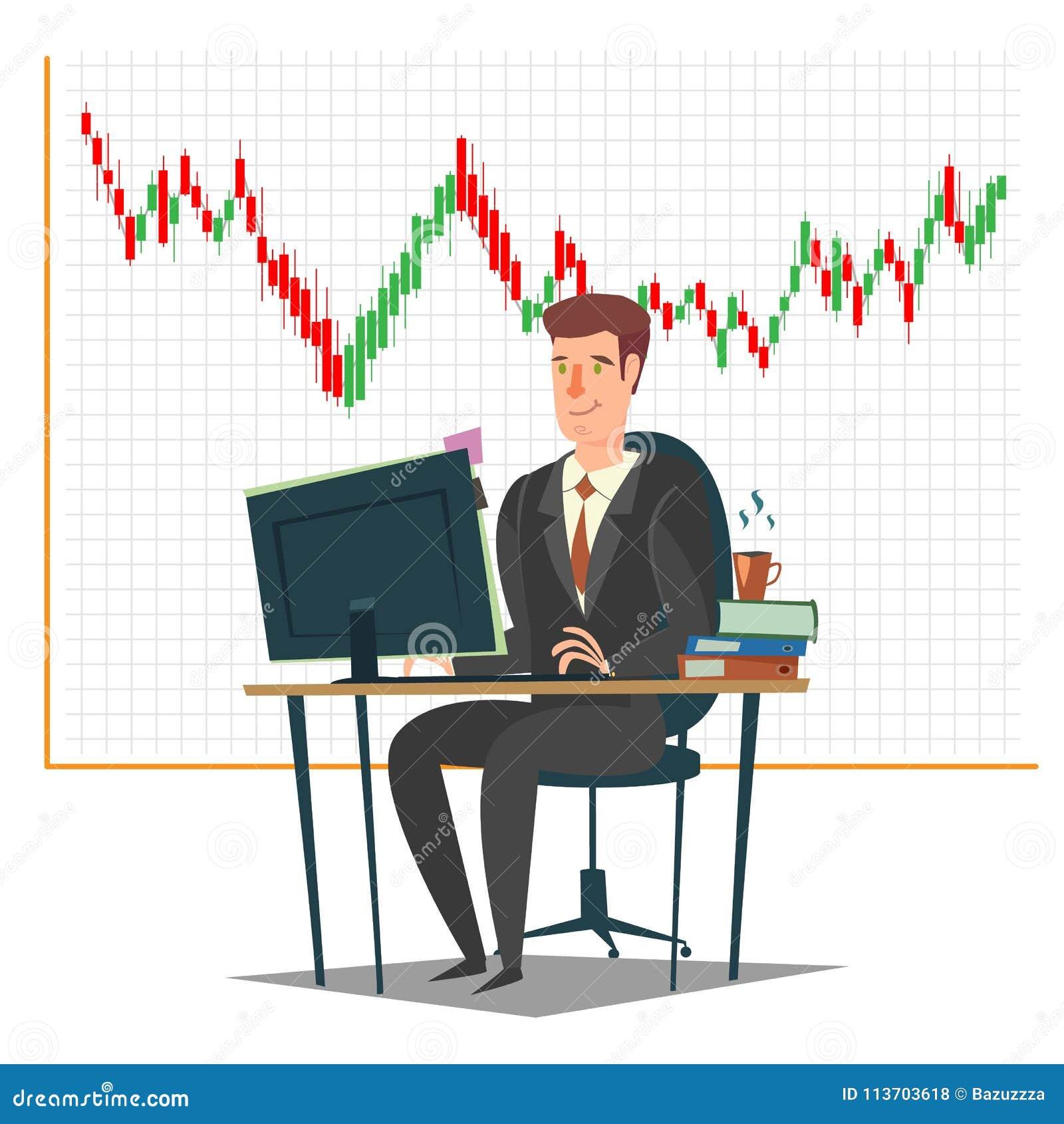 Mercado de valores de ação, investimento e ilustração de troca do vetor do conceito