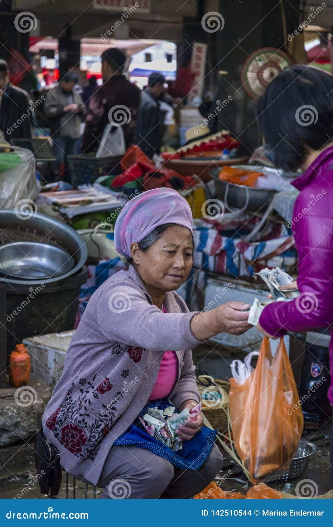 Mercado do alimento, Dali Old Town, província de Yunnan, China