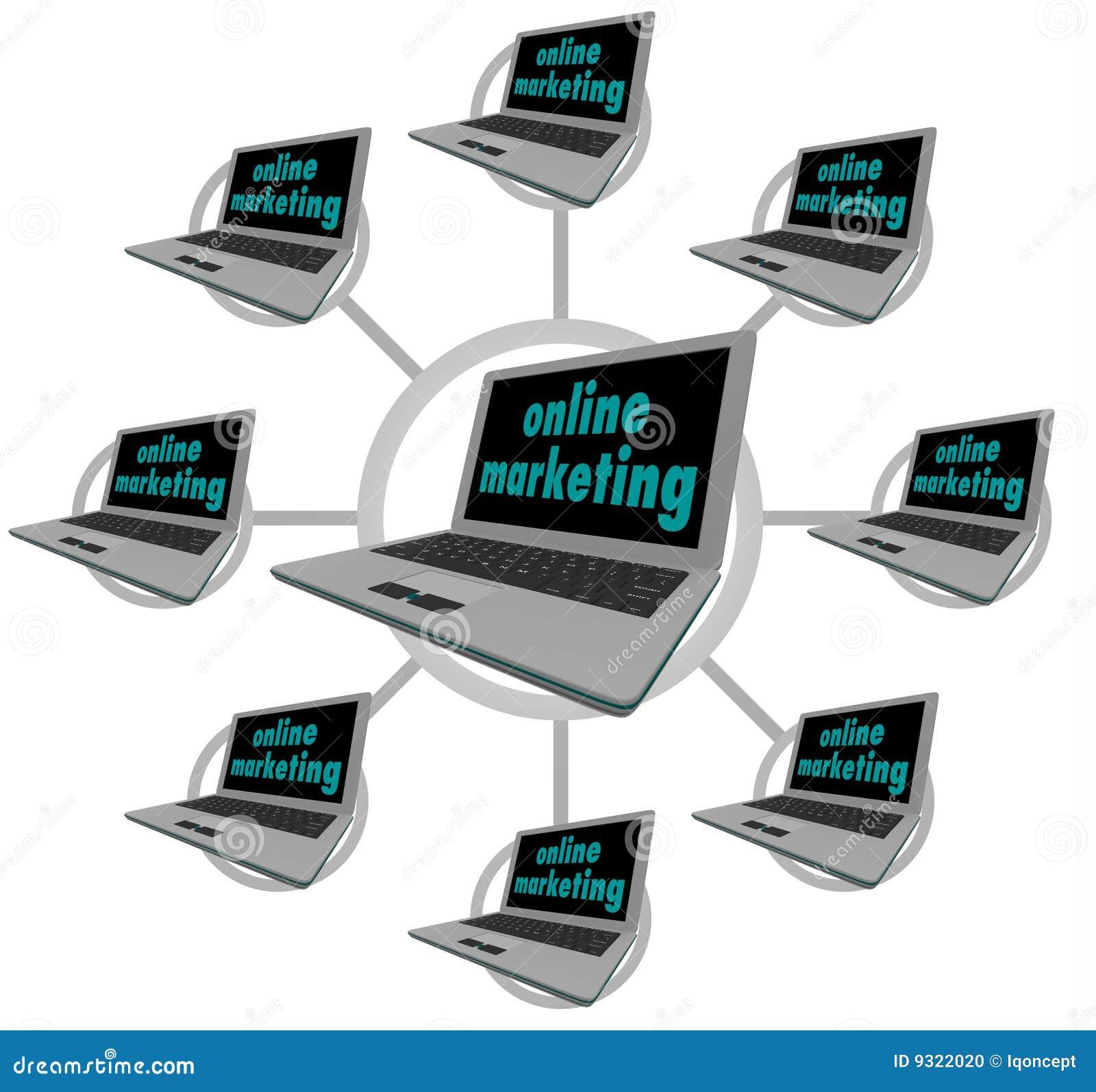 Mercado em linha - computadores conectados