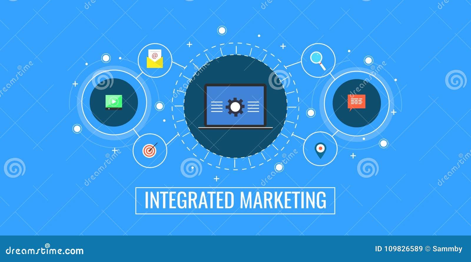 Mercado integrado, conexão de negócio, promoção digital e conceito da gestão Bandeira lisa do vetor do mercado do projeto