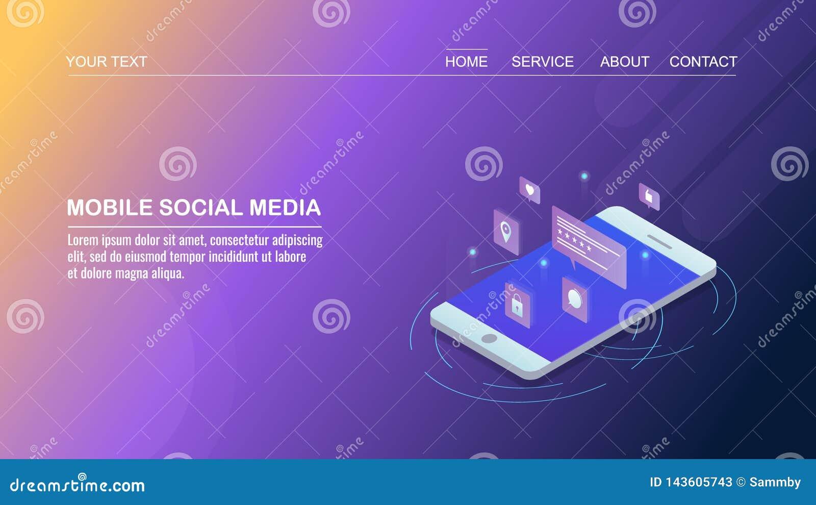 Mercado social dos meios no app móvel, social dos trabalhos em rede, mercado digital, conceito de projeto isométrico