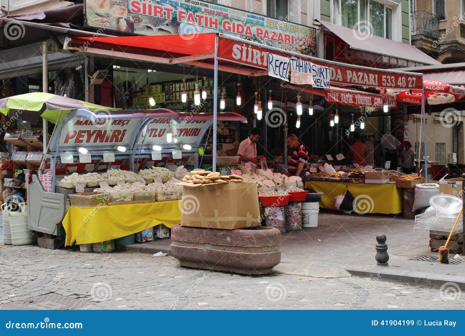 Mercado turco de la comida