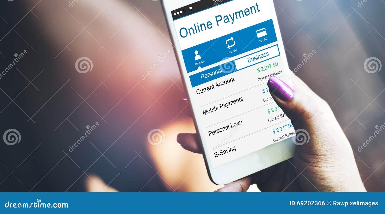 Mercadoria em linha da compra do pagamento que compra pagando o conceito