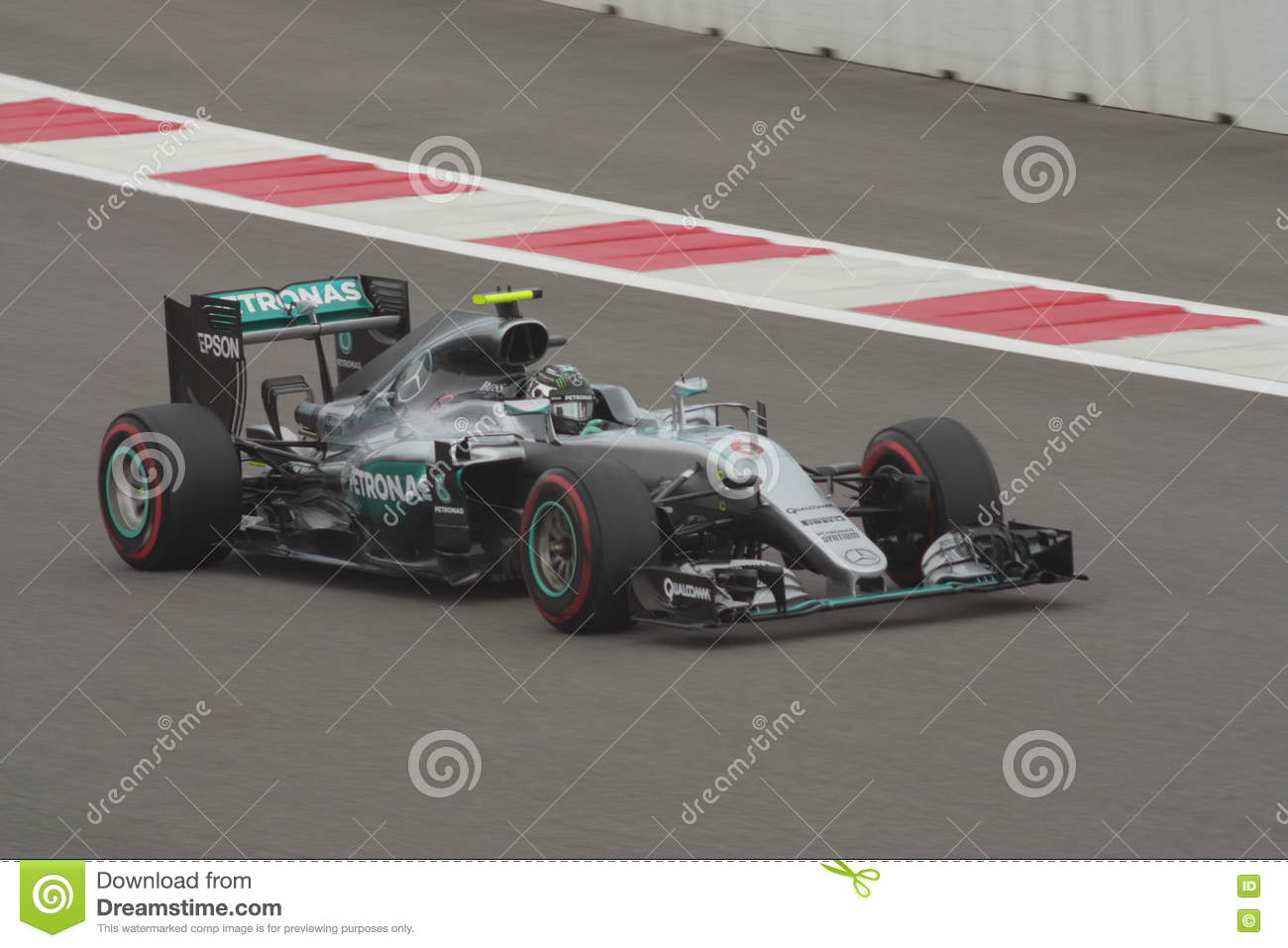 d2a08b06241 Nico Rosberg of Mercedes AMG Petronas F1 Team on the racetrack. Front view  . Race car tires supersoft red colour coding