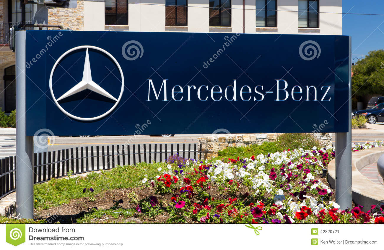 Mercedes benz automobile dealership sign editorial photo for Mercedes benz of monterey monterey ca